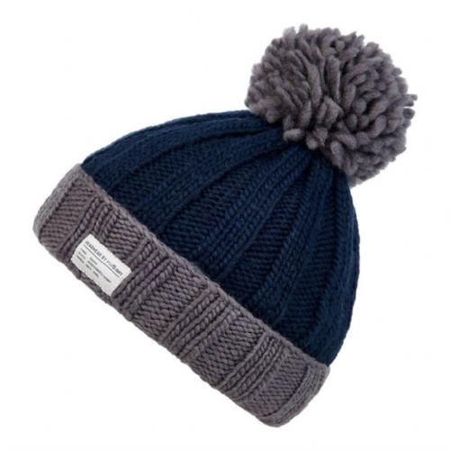 Moss Yarn Ribbed Bobble Hat with Turn Up - Kusan - Navy/Grey